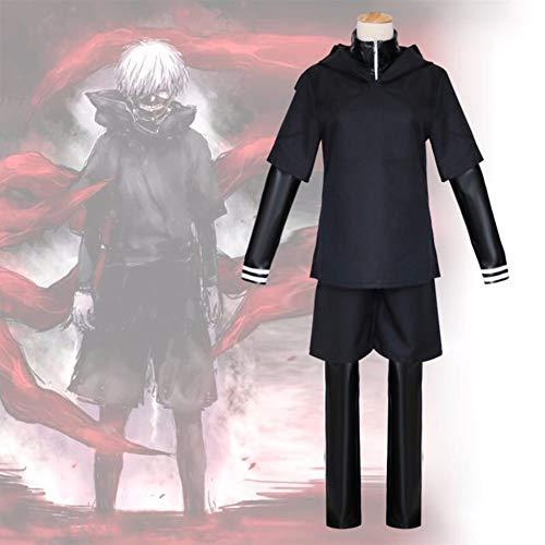 Wrrry Hochwertiger Tokyo Ghoul Kampfanzug von Ken Kaneki in Lackleder Schlacht Uniform Cosplay Kostüm