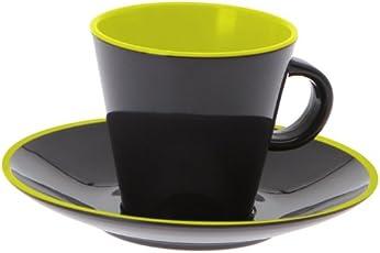 Gimex Tassenset Espresso 4-teilig lemon/grau