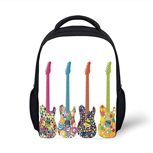 Kids School Backpack Popstar Party,Set Electric Guitars Colorful Flowers Stars Circles Abstract Patterns,Multicolor Plain Bookbag Travel Daypack - Guitar Popstar