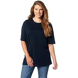 Ulla Popken T-Shirt, Rundhals, T-Shirt coupe droite Col Ras Du Cou Manches Courtes Femme, Blau (Blau 71), 64/66 (Taille fabricant: 62/64)