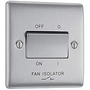 BG Electrical 3-Pole Fan Isolator Switch, Brushed Steel, 2-Way, 10AX