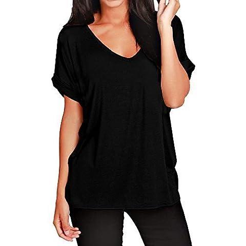 T-shirt Col V Femme - FEMMES BAGGY COUPE LARGE COL V REVERS