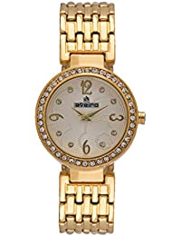 Aveiro Gold Plated Stainless Steel White Dial Women Watch With Stone Studded Case
