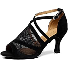 SUKUTU Mujer Moda de malla de salón de baile latino Tango zapatos de señora suave suela de tacón alto de baile zapatos SU014