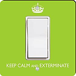 Rikki Knight Keep Calm and Exterminate SM Single Rocker Light Switch Plate, Lime Green
