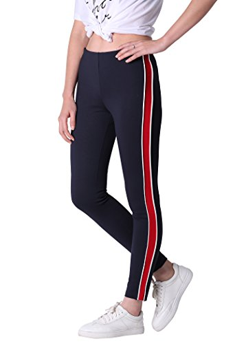 Damen Casual Lässige Sweatpants Navy Blau Sport Hose Seite Streifen Patchwork Leggings Basic Slim Fit Jogginghose