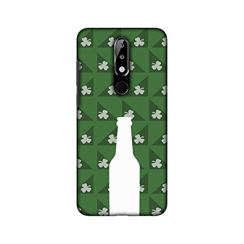 AMZER® Designer Case - Beer and Pattern with shemrock - Green for Nokia 5.1 Plus