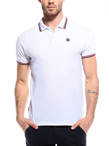 WOLDO Athletic Herren Poloshirt Polohemd Polo Shirt Hemd kurzarm Slim Fit (XL, Weiß) (Kurzarm - Shirt Polo Kragen)