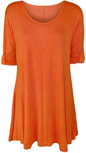 WearAll - Haut flottant avec une encolure degagée et à manches longues - Hauts - Femmes - Orange - 48