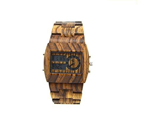 HYSENM Herren Armbanduhr digital Uhr Holz mit Datumsanzeige Wochentag Monat Tag leuchtend zwei Zeitzone für Allergiker mit Werkzeug, Holz