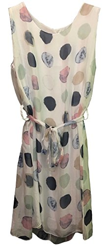 Bozana Sommerkleid Seidenkleid Bozana Sommer Herbst Seidenkleid Damen Dress Pünktchen Kleid elegant (Viskose Handwäsche,)