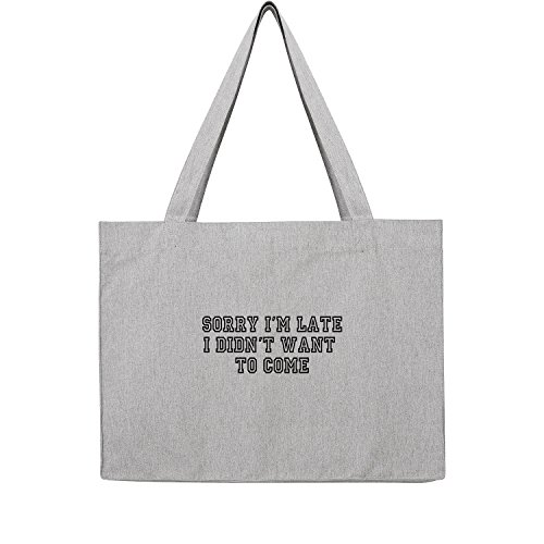 Fossil Grau T-shirt (Sorry I´m late I don´t want come Bag Frauen Shopper grau Jute Beutel Handtasche Strand Sommer faltbar groß bedruckt mit Motiv (353-U762-Grau))