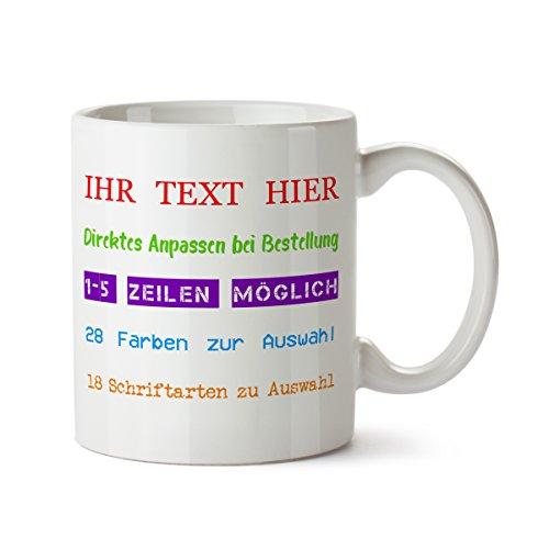 """Personalisierter Kaffeebecher II weiß Motiv """"IHR TEXT"""" Spruch individuelle Text Gestaltung Druck Tasse Becher Kaffeetasse Hochzeit Kinder (T-shirt Retro Kreise)"""
