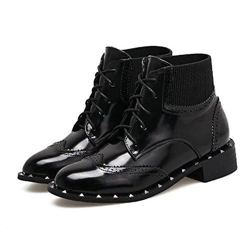 HSXZ Scarpe donna vera pelle Autunno Inverno combattere Stivali Stivali tacco basso Babbucce/stivaletti di abbigliamento casual nero Black