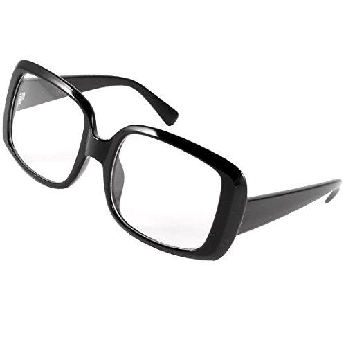 Schwarz Full Frame Oversize-Platz Linse plain Gläser Brillen für Damen