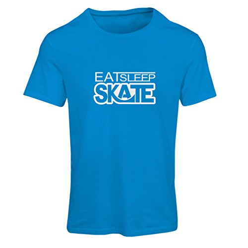 Männer T-Shirt Eat - Sleep - Skate - für Skater, Skate Longboard, Skateboard Geschenke (X-Large Blau Weiß)