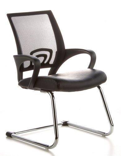 hjh OFFICE 650400 Konferenzstuhl Freischwinger VISTO NET V Netzstoff schwarz chrom, ergonomischer...