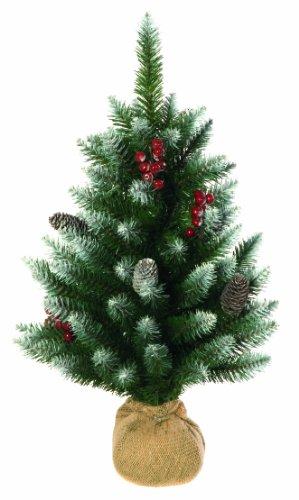 Festive productions albero di natale con spruzzi di neve, 8 pigne e 80 bacche rosse, altezza 60 cm