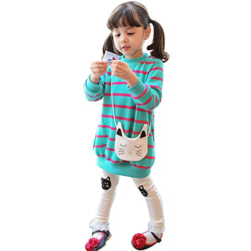 JERFER 2pcs Gestreifte Comic-Katze Outfit Set Herbst Frühling Bekleidungsset nette Baby Kind Kleidung Langarm Shirt Tops Bluse + Hose Leggings für 4-8 Jähriges Mädchen (Grün, - Nette Ideen Für Kostüm