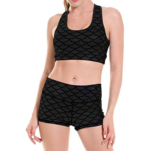Fitness Set Workout Pantalon Gym Sportswear Yying Yoga Ensemble Mermaid Scales Yoga Bra Trainer Noir