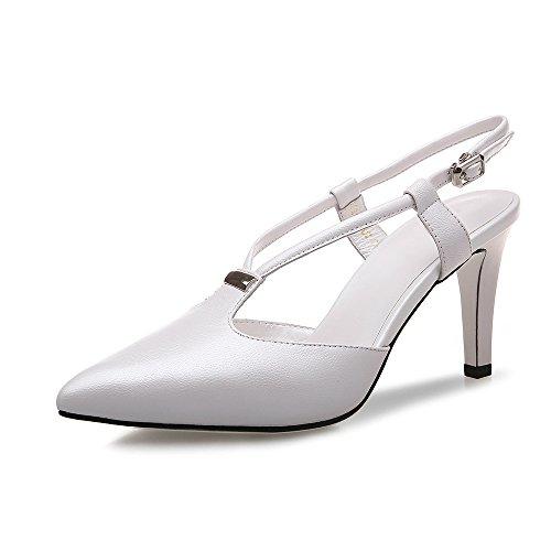 WSS chaussures à talon haut Sandale de stylet pointu simple et à la mode avec baotou Sandales femme White