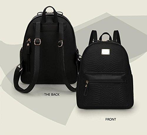 LDMB Damen-handtaschen Frauen Nylon große Kapazitäts-wasserdichter Rucksack justierbare leichte einfache wilde Bookbags-Einkaufstasche-Handtasche Black