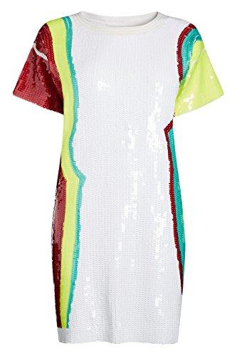 next Femme Coupe Classique Robe Ornée De Sequins Blanc