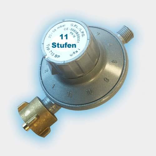 CAGO Gas-Druck-Regler Gasregler verstellbar 11-Stufen-Regler 25-50 mbar regelbar Propan 30 Druckminderer