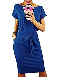 Auxo Mujer Vestidos Mujer Verano Manga Corta Vestido Sudadera Deportivo Vestido Sudadera Talla Grande Túnica Camiseta Larga Y-auzl XXL