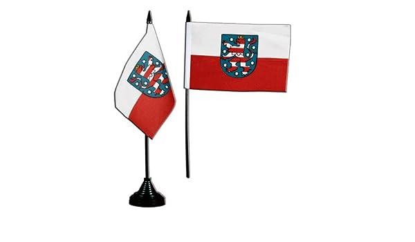 gratis Aufkleber Flaggenfritze/® Tischflagge Tischfahne Deutschland Th/üringen