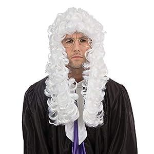 NEW WHITE JUDGES WIG COURT FANCY DRESS UNISEX (peluca)