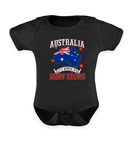 Shirtee Australien ist der Ort wo Meine Geschichte beginnt - Australier Abitur Work & Travel Abi - Baby Body -12-18 Monate-Schwarz