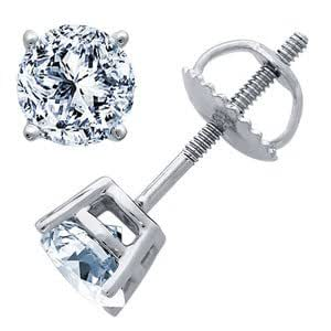 0.90 Carat I/VS2 Round Certified Diamond Solitaire Stud Earrings in 18ct Solid White Gold