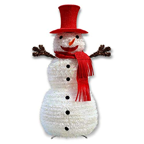 Ardentity Süßer Weihnachten Deko Schneemann, Faltbar Schneemann Outdoor Außenbereich Schneemänner Weihnachtsfigur, 110CM