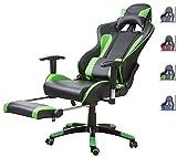 Delman Racing Bürostuhl Gaming Chair Schreibtischstuhl Drehstuhl Sportsitz Ergonomischer PU Leder Höhenverstellbar mit Armlehnen mit Fußablage Fußstütze 02-1004 (Schwarz-Grün-FR)