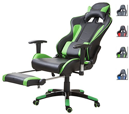 Schwarze Sitz (Delman Racing Bürostuhl Gaming Chair Schreibtischstuhl Drehstuhl Sportsitz Ergonomischer PU Leder Höhenverstellbar mit Armlehnen mit Fußablage Fußstütze 02-1004 (Schwarz-Grün-FR))