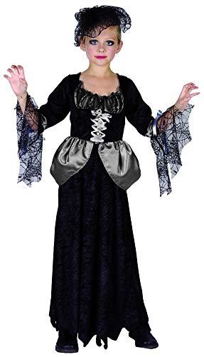 Generique - Schwarze Witwe Mädchen-Kostüm schwarz-Weiss-grau 110/116 (4-6 ()