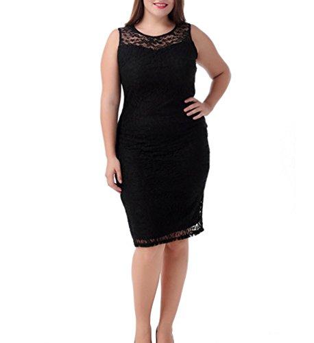Ghope Grande Taille Dentelle Doublé Midi-robe Moulante Sans Manches Robes Femmes - Tailles 44 à 54 Noir