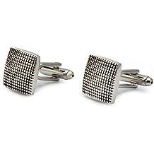 Escaro Royale Men's Silver Plated Enamel Engraving Cufflinks(ER6002PL_Silver)