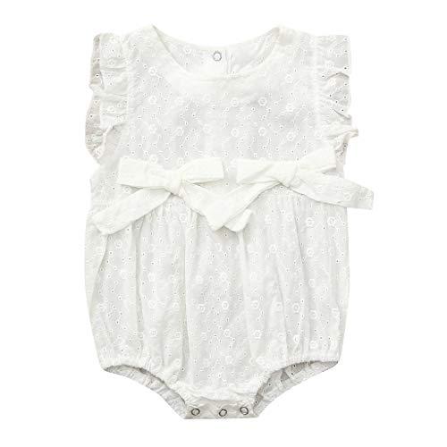 Pwtchenty baby Kinder äRmellose Bow Einfachen Cute Kleidungs Set MäDchen Baumwolle Strampler Jumpsuit Spielanzug ()