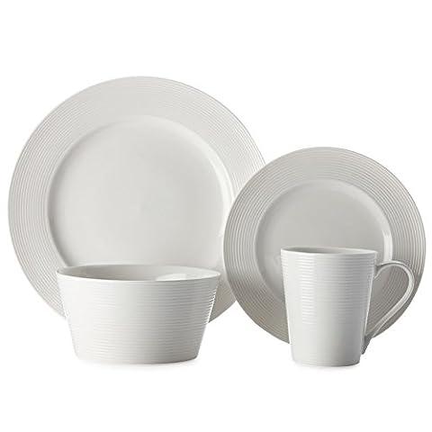 Casa Domani décontracté Blanc Evolve Porcelaine four, micro-ondes et lave-vaisselle 16pièces de table