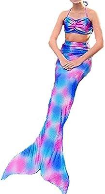 pepeng cola de sirena para 4-10años Bikini Girls, juego de 2pcs Fancy swimmable Sea-maid disfraz para niños (Talla 140)
