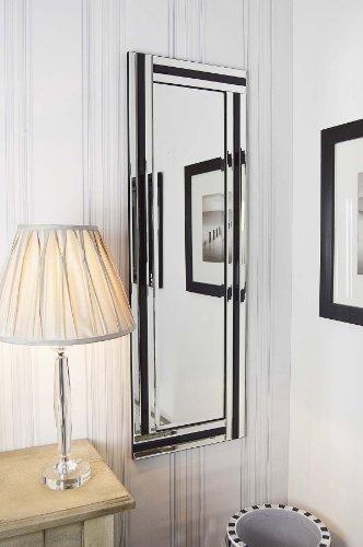 MirrorOutlet Grande Moderno Nero e Argento Triple Edge all in Vetro Veneziano Specchio 120 cmx40 cm, silver, rettangolo