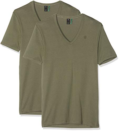 G-STAR RAW Herren Basic V-Neck 2-Pack T-Shirt, Grün (Dk Shamrock 7159), Small (Herstellergröße: S)