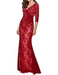 La mia Braut Dunkel Fuchsia Spitze Abendkleider Ballkleider Brautmutterkleider  Figurbetont Festlichkleider mit Langarm 8769276347