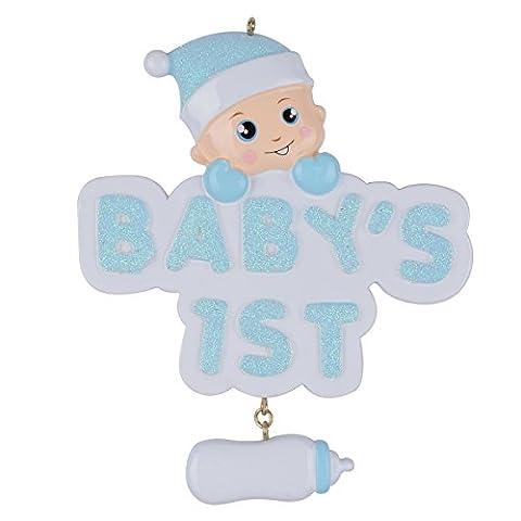 Blaue Baby-Flasche Baby-erste Weihnachtsverzierung