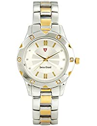 Swiss Grand SG-1173 Silver Coloured With Gold Stainless Steel Strap Analog Quartz Watch For Women