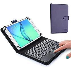 """7-8"""" inch étui Clavier pour Tablette, Cooper TOUCHPAD Executive 2-en-1 Clavier Bluetooth sans Fil Souris Étui de Voyage Cuir Porte-Documents + 8-7"""" inch (Bleu)"""