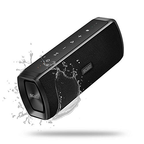 SCIJOY Wireless Bluetooth Lautsprecher, 16W Tragbarer BT4.2 Lautsprecher Wasserdicht IPX6, Bass Stereo mit 12 Std.-Spielzeit, Freisprechfunktion für Handy, WTS für Outdoor/Dusche/Party