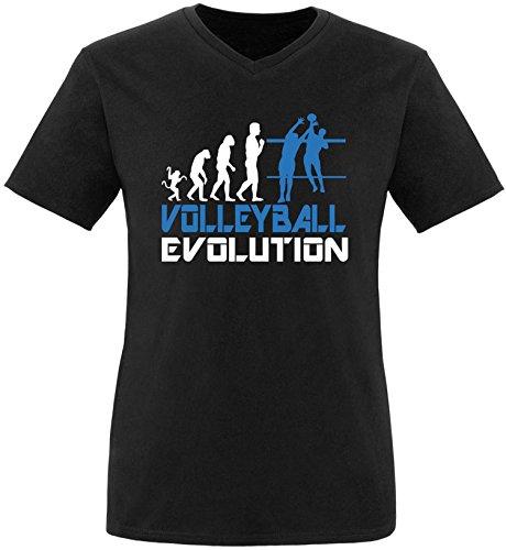 EZYshirt® Volleyball Evolution Herren V-Neck T-Shirt Schwarz/Weiss/Blau